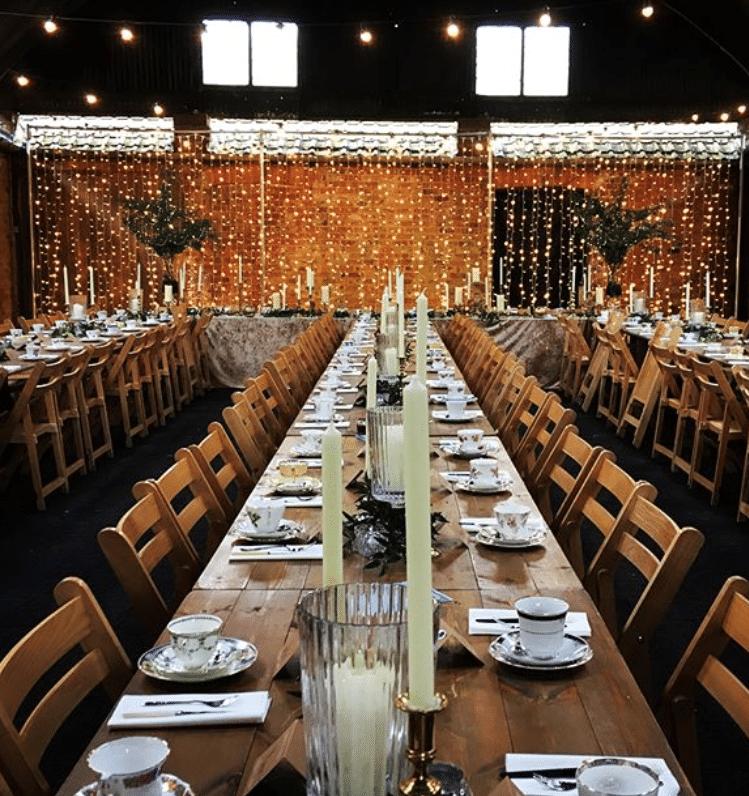Crayke Manor Festoon Lighting Fairy Light Curtain Hanging Lanterns Wooden Dance Floor