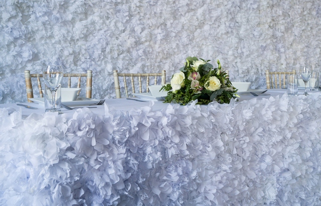 Flower Top Table Skirt Hire