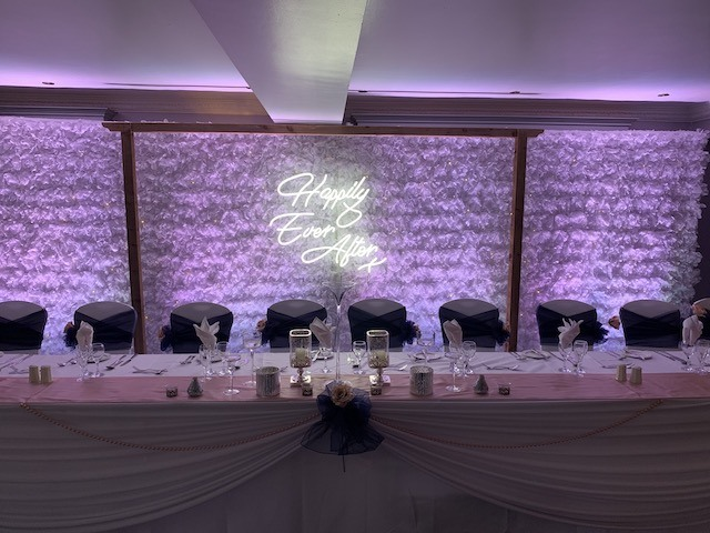 Flower Wall Backdrop With Up Lighting Hire
