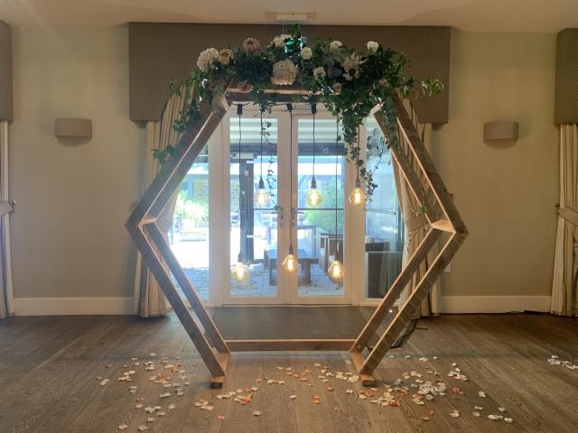 Hexagon Geometric Wedding Arbor Arch With Edison Bulbs Hire