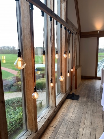 Rustic Frame With Hanging Edison Bulbs Backdrop