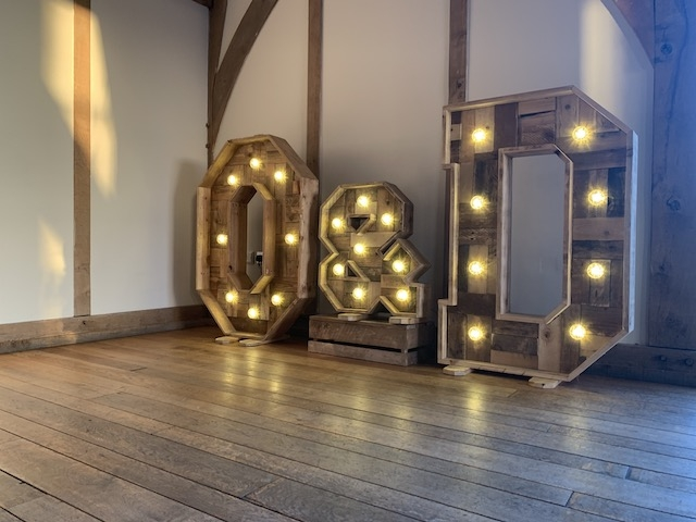 Rustic Light Up Letters Hire