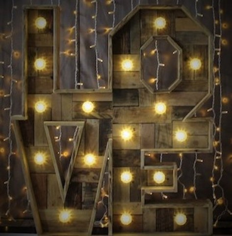 Light Up Rustic LOVE Block Letters