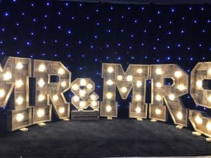 Light Up Rustic Mr & Mrs Letters