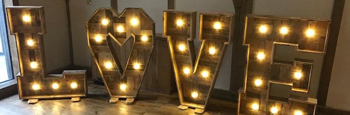 Light Up Rustic Love Letters Vintage Wooden Look Love