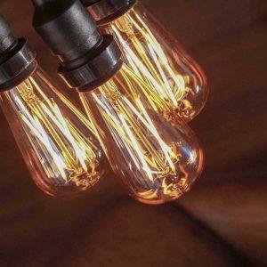 Vintage Edison Bulb Warm White - Black Cable - Dim-able Festoon Lighting
