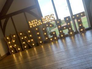 Light Up Rustic Mr & Mrs Surname