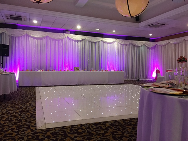White Pleated Drapes Hire