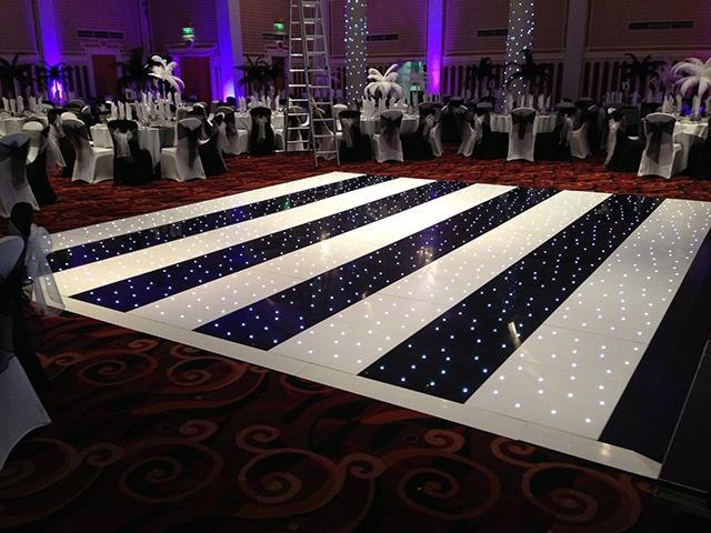 Black & White Stripped Starlight Dance Floor