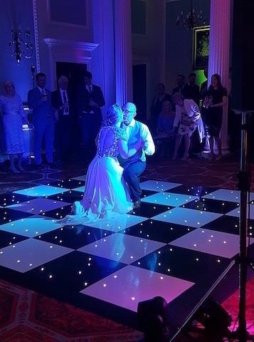Black & White Starlight Dance Floor Hire